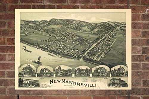 (Retro Printing Company New Martinsville West Virginia Vintage Map Poster Map 1899 Poster of WV Map Art Wall Decor, Home Decor, Wall Art)