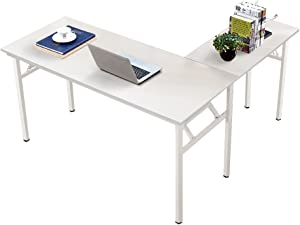 Need 55 inches x 55 inches L-Shaped Folding Computer Desk, One-Step Assembly, L Desk Home Office Desk Workstation Desk, White AC11DW-140