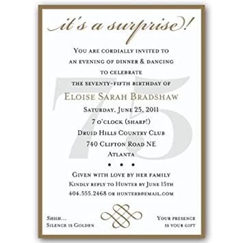 Image Unavailable Not Available For Color Classic 75Th Birthday Gold Surprise Invitations