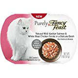Purely Fancy Feast Natural Salmon & Chicken Entree in a Delicate Broth Cat Food, 2-Ounce Tub, Pack of 10 by Purina Fancy Feast