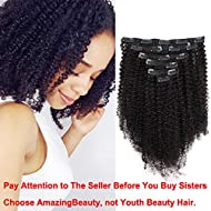 AmazingBeauty 8A Grade 3C 4A Double Wefted Thick Big Afro Kinkys Curly Hair Extensions Clip in for African American Black Women, Natural Black, 120 Gram, 12 Inch