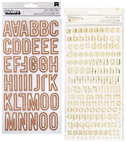430 Gold Letter Stickers | Set Includes 1-Pack of 353 Gold Foil Stickers (Alphabet, Number, Punctuation Marks) and 1-Pack of 77 Rose Gold Glitter Stickers (Alphabets, Punctuations, Symbols)