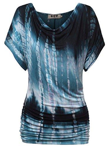 Pattern Tie Dye T-shirt (DJT Women's Cowl Neck Short Sleeve Draped Dolman Shirt Tunic Top Small Tie Dye Blue-2)