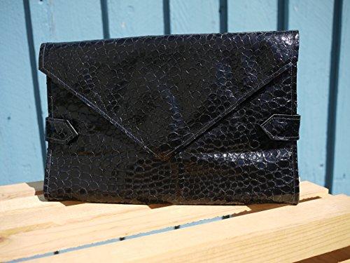 (Elegant navy blue diaper clutch in mock croc leather)