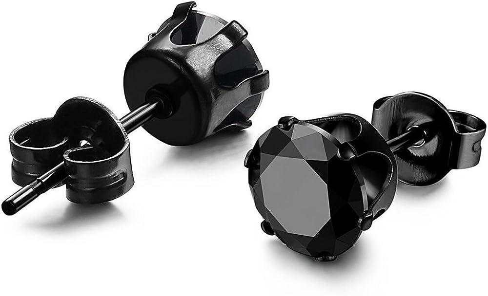 Adramata 3 Paires Clous Doreilles Femme Homme Noir Boucle Doreille Diamant Ronde Inoxydable