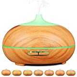 Aidodo Aromatherapy Essential Oil Diffuser, 300ML Aroma Cool Mist Humidifier Ultrasonic Whisper Quiet Air Purifier with Colors LED Lights,Mist Control, Waterless Auto Shut-off for Home or Office - Light Wood Grain
