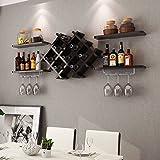 Custpromo Set of 5 Wall Mount Wine Rack Set Bottle & Glass Holder w/Storage Shelves, Home & Kitchen Décor (Black)