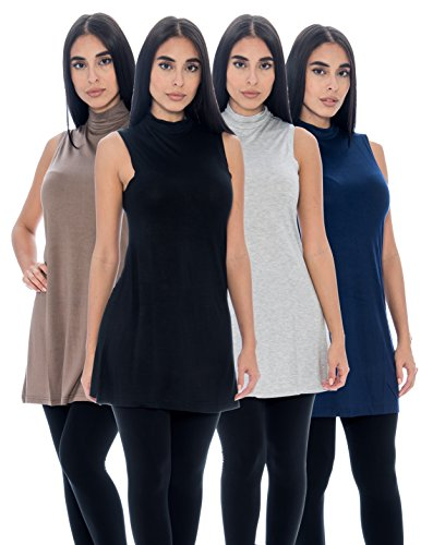 Unique Styles Women's Long Tank Top Sleeveless Mock Turtle Neck Swing Style Flowy Stretchy Top Pack Of 4 (Medium, 4-PK: Black, Grey, Navy, Taupe)