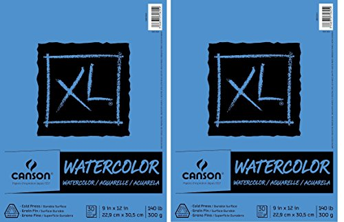 2 X Canson Watercolor Paper Pad, 30-Sheet, 9-Inch by 12-Inch, ()