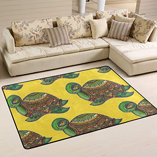 Boho Sea Turtle Tortoise Yellow Area Rug 6' x 4' Carpet Indoor Polyester Non Slip Multi Rectangle Door Mats Kitchen Floor Runner Decoration for Home Bedroom Living Dining Room