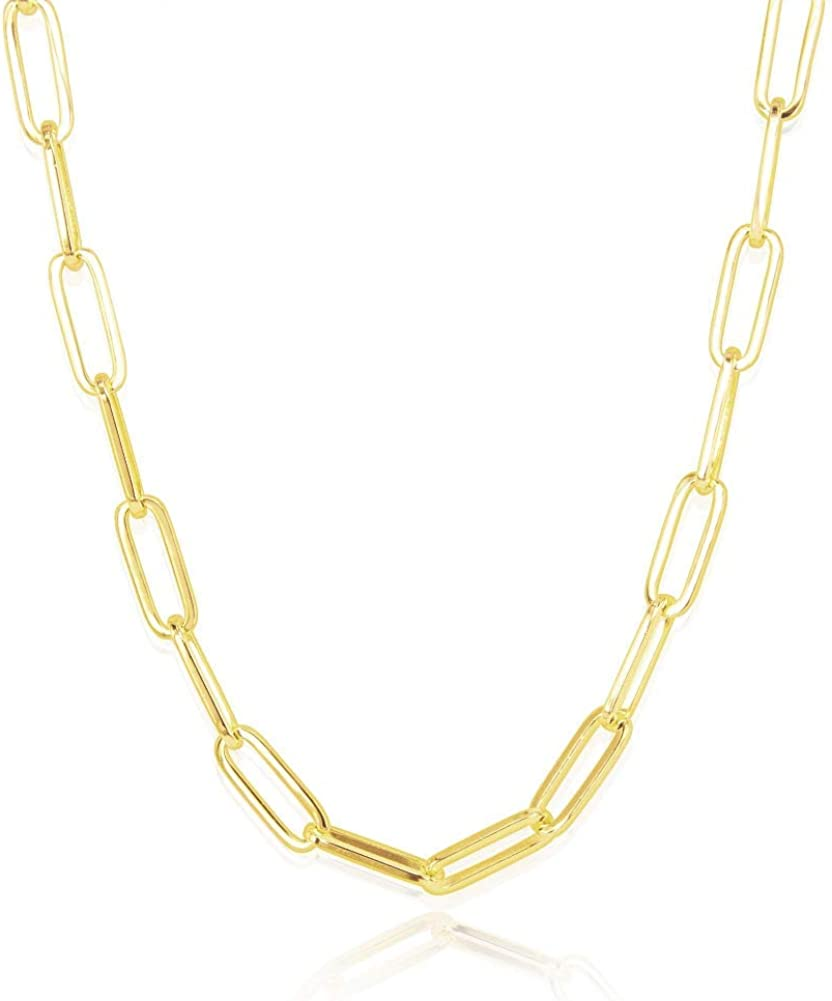 Amazon Com I S Isaacsong Statement 14k Gold Plated 4mm Thick Oval Chain Link Choker Collar Necklaces And Link Chain Bracelets Chunky Gold Jewelry Set For Women 15 Mm Gold Paperclip Necklace Jewelry