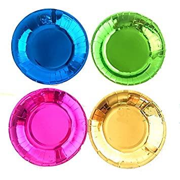AGS Blue PInk Green Yellow Metallic Foil 8\u0026quot; Paper Plates ...  sc 1 st  Amazon.com : pink and blue paper plates - pezcame.com