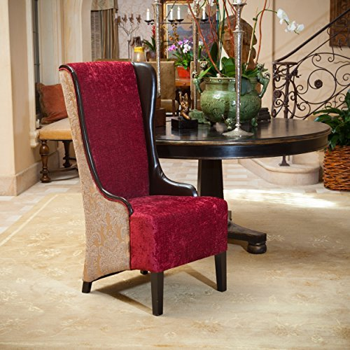 Christopher Knight Home Bacall High-Back Chair, Ruby/Chocolate Brown/Taupe