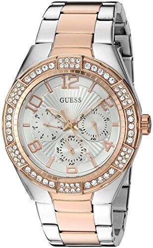 GUESS Women's U0729L4 Sporty Silver-Tone Stainless Steel with Multi-function Dial and 2-Tone Pilot Buckle Quartz Casual Watch