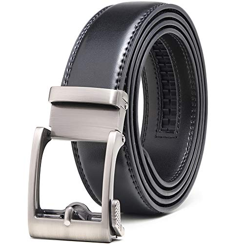 "Ratchet Click Belt Casual Dress with Automatic Slide Buckle 1 3/8""-Adjustable Ferfect Fit (28""-42"" Waist Adjustable, Silver Open Buckle-Black Leather)"