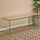 Great Deal Furniture Classon Glass Entertainment TV Console Stand with Shelf