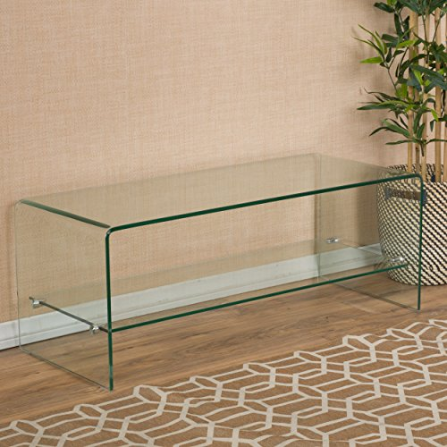 Christopher Knight Home Classon Glass Entertainment TV Console Stand with Shelf ()