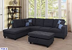 This 3-piece sectional sofa features a modern chaise draped in smooth waffle suede; 3-piece sectional sofa set with wooden frame covered in charcoal waffle suede; Seat cushion filled with foam and inner spring for durability and comfort; ; De...