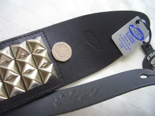 UK MADE LARGE PYRAMID STUDDED REAL LEATHER HEAVY METAL GUITAR STRAP