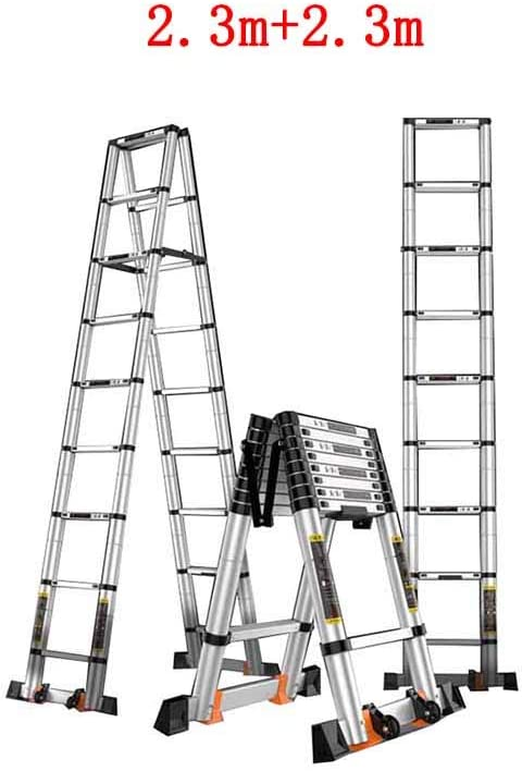 ZPWSNH Escalera Plegable hogar telescópico portátil Subida y caída bambú Doble Cara Escalera en Espiga Gruesa ingeniería de aleación de Aluminio Taburete (Size : 3.9m+3.9m): Amazon.es: Hogar
