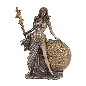 PTC 9.5 Inch Bronze Colored Frigga Figurine with Staph and Round Shield