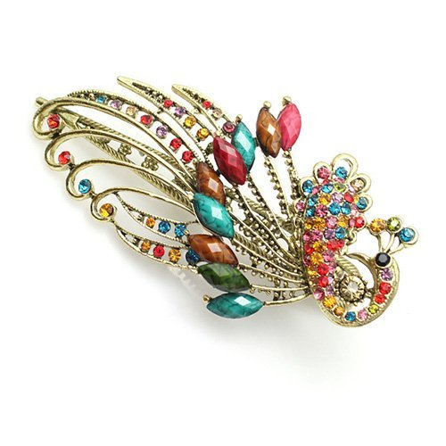 SPHTOEO Lovely Vintage Jewelry Crystal Peacock Style Hair Clip (Colorful)