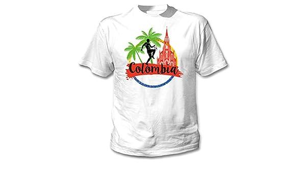 teesquare1st Cartagena Colombia Camiseta Blanca para Hombre de Algodon Size Xxxxlarge: Amazon.es: Ropa y accesorios