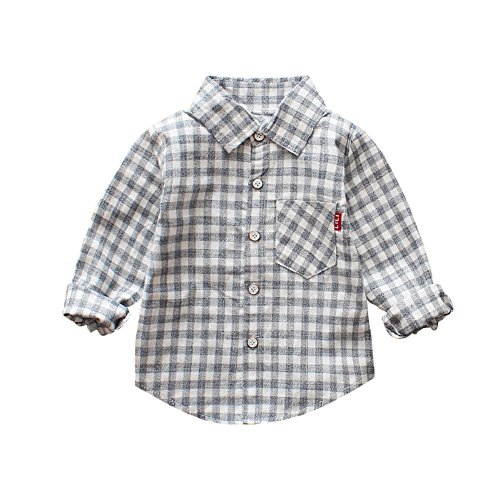 ESHOO Baby Boys Girls Long Sleeve Cotton Casual Plaid Shirt by ESHOO