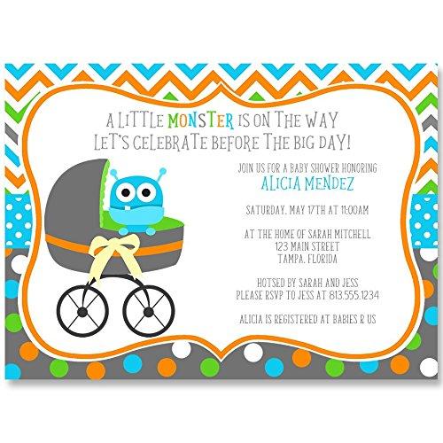 Buggy Monster Baby Shower Invitations Stroller Sprinkle Invites Blue Orange Lime Polka Dots Chevron Stripes Gender Neutral Team Green Unisex Personalized (10 count)