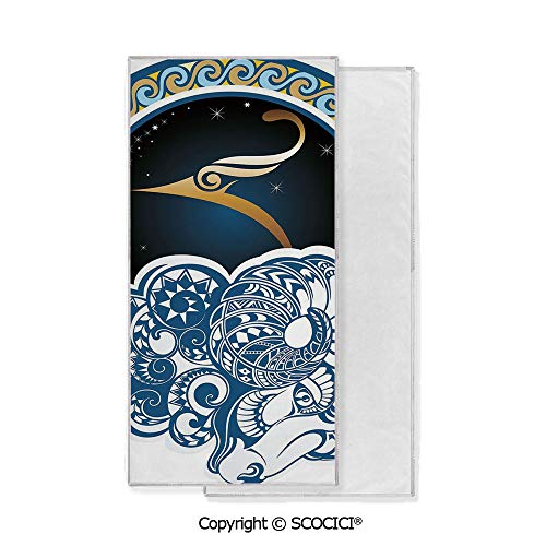 Long-Lasting and Soft Lightweight Quick-Dry Polyester Towel,Astrological Aries Symbol with Horned Ram Goat Terrestrial Event Image (15x30 inch),Suitable For Camping, Running, Cycling, Gym,Highly Abso