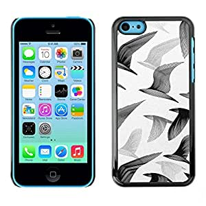 All Phone Most Case / Hard PC Metal piece Shell Slim Cover Protective Case for Apple Iphone 5C Seagulls Birds Flight Painting Art White