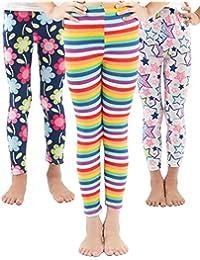 a5bc135d1a448e Girls Toddler Leggings Pants 3 Pack Stretchy Printing Flower Classic  Leggings for Kids