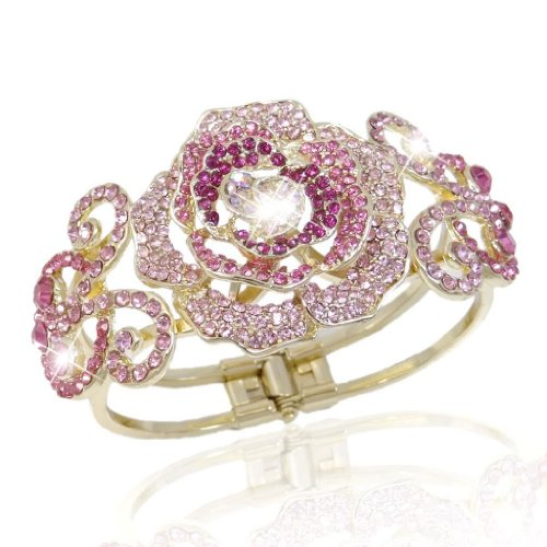 EVER FAITH Gold-Tone Rose Flower Bud Pink Austrian Crystal Bracelet (Austrian Pink Crystal Bracelet)