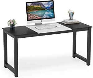 Tribesigns Computer Desk, 55 inch Large Office Desk Computer Table Study Writing Desk for Home Office, Black White