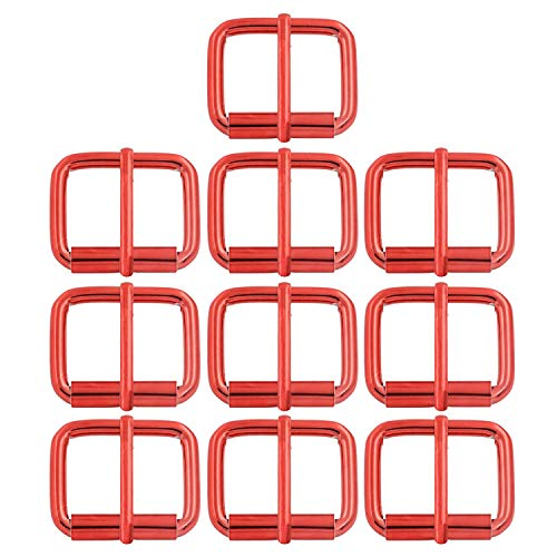 Roller Buckle, 1'' x 4/5'' Heel Rolling Bar Buckles for Bags Leather Webbing Straps, Red - Pack of 10