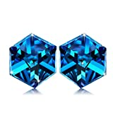 "Fine Jewelry NINASUN ""Hooked On You"" 925 Sterling Silver Change Color Cube Stud Earrings Made with SWAROVSKI Crystals"