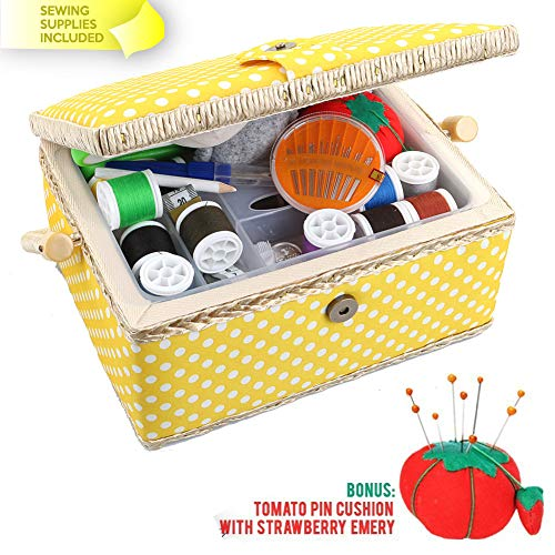 (Large Sewing Basket with Accessories Sewing Organizer and Storage with Complete Sewing Kit Tools - Wooden Sewing Box with Removable Tray and Tomato Pincushion for Sewing Mending - Yellow)