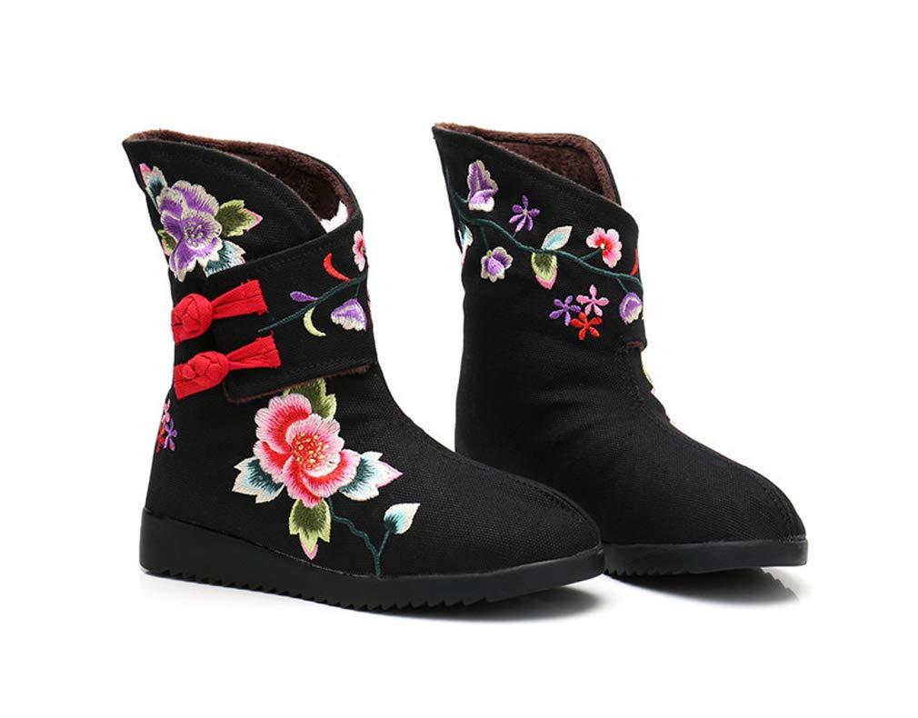 Hy Damenschuhe Frühling Herbst     Winter Komfort Canvas Stiefelies Mode Stiefel Damen National Wind Bestickte Stiefeletten Flache Freizeitschuhe (Farbe   Schwarz Größe   40) 964d63