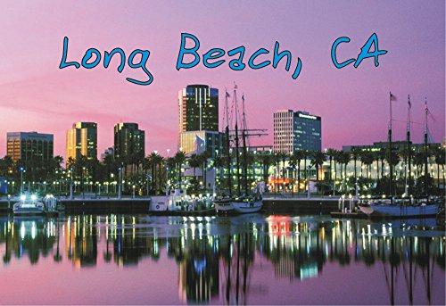 Long Beach, California, CA, Skyline, Boats, Marina, Souvenir Magnet 2 x 3 Photo Fridge Magnet