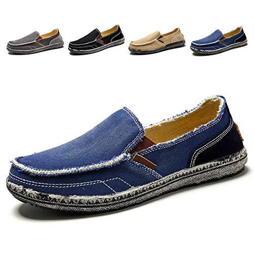 Men's Casual Canvas Shoes Slip-on Vintage Cloth Sneakers Wide Width Penny Loafers Outdoor Flat Deck Boat Walking Shoes Blue ()