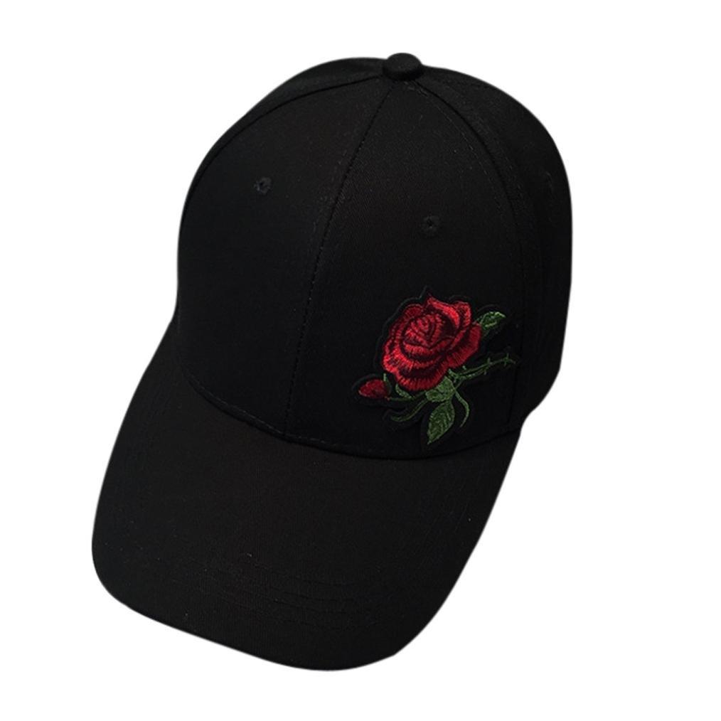 Mode! Femmes Hommes Couple Rose Casquette de Baseball, BZLine Unisexe Hip Hop Plat Broderie Chapeau BZLine Unisexe Hip Hop Plat Broderie Chapeau (Noir) BZL-01