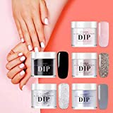 Latorice Dipping Powder Nail starter Kit of 5 color for French Nail Manicure Nail Art Set Essential Kit, 5pc Dipping Powder, 3pc 12ML Liquid, No UV Lamp,Easy to Apply