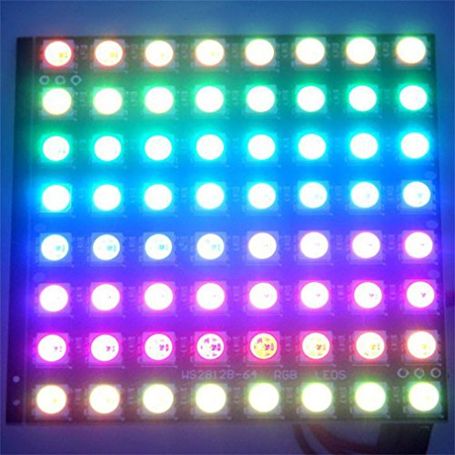 ASDOMO WS2812B 88 64-Bit Full Color 5050 RGB LED Lamp Panel Light Module Development Board New by Asdomo