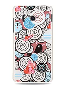 """GRÜV Premium Case - """"Abstract Hearts & Birds Digital Art"""" Design - Best Quality Designer Print on White Hard Cover - for Huawei Ascend Y300 U8833 T8833"""