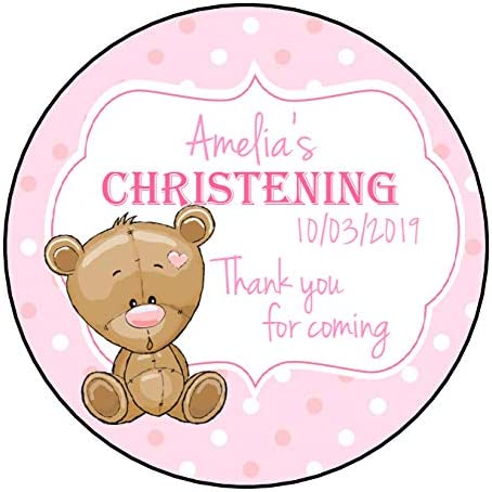 Personalised Christening Stickers For Girls Pink GLOSS Party Sweet Cone Bag Teddy Bear Polka Dot Design 140mm diameter 2 Stickers