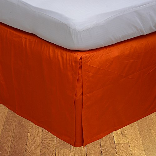 Relaxare Cal King 300TC 100% Egyptian Cotton Orange Solid 1PCs Box Pleated Bedskirt Solid (Drop Length: 11 inches) - Ultra Soft Breathable Premium Fabric by Relaxare