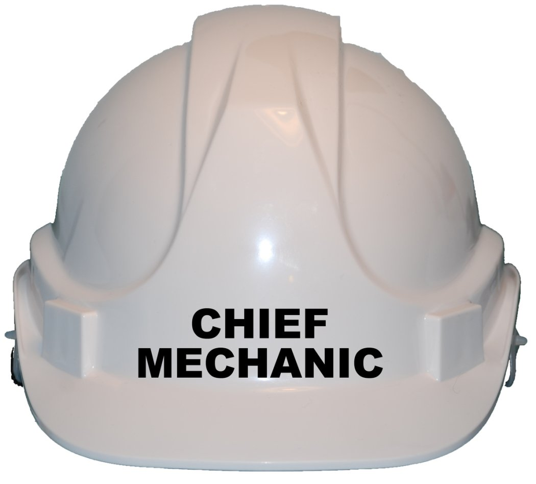 Chief Mechanic Children, Kids Genuine Hard Hat Safety Helmet With Chin Strap One Size Adjustable Suitable for 2-12 Years White Complies With EN397 Safety Standard by Acce Products