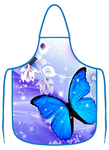 (iColor Blue Butterfly Cooking Apron,Funny BBQ or Kitchen Aprons,Machine Washable,Premium Quality Bib aprons for Women and Men,ideal for Kitchen,parties,garden,camping & more AP-9)