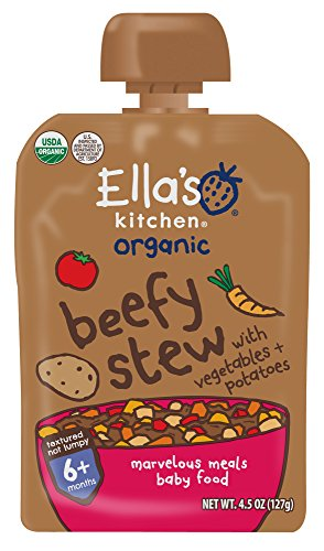 Ellas Kitchen Organic 6+ Months Baby Food, Beefy Stew with Vegetables and Potatoes, 4.5 oz. Pouch (Pack of 6)