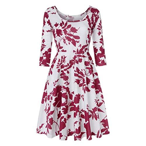 Vicgrey Mini Da Vestito Dress Tre Manica Pullover Floreale Partito Sera Casuale Abito Lunga Elegante Donna Quarti Donne Stampa Rosso Boho rrxqaw10